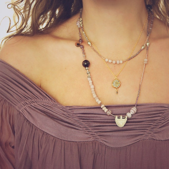 Long Watermelon Tourmaline Necklace - Long Boho Necklace