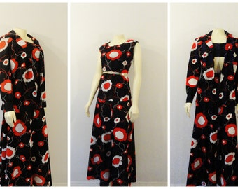 Vintage Outfit Shirt Skirt & Jacket Black Red White Floral 60s 70s A Line Maxi Skirt Modern Size Medium