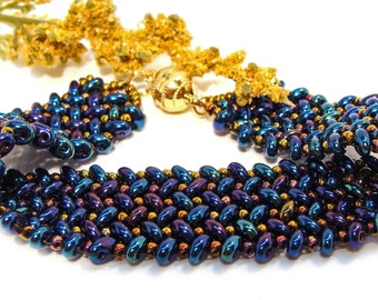 Handmade Beaded Herringbone Bracelet with Metallic Blue, Teal and Purple Beads with Gold Accents  #giftsforher #bluebracelet #handmade #etsy
