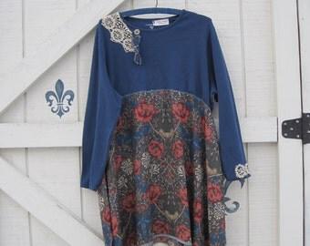 Boho dress, blue floral mini, XL lagan style tunic, gypsy Blue teal, Rustic dress, vintage floral, Eco fashion dress clothing