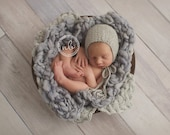 Newborn Hat, Classic Bonnet, Grey, Photo Prop