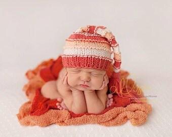 Newborn Hat, Stocking Hat, Coral, Cream, Peach, Photo Prop