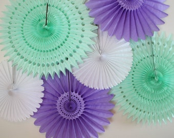 Tissue Paper Fans-bridal shower decor, baby shower, birthday party decor, wedding decorations, mint, light purple