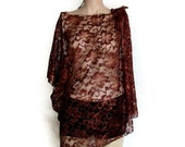 Lace Beach Cover Up,Bunic Brown Lace Tunic,Lace Bikini Cover Up,Lace Top, Bohemian Top, Lace Blouse, Bikini Cover Up, Festival Outfit, Gypsy