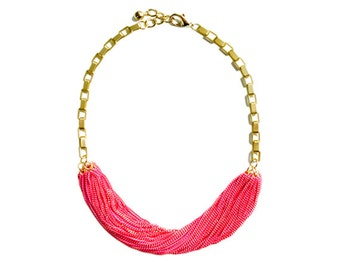 Multi Strand Chic Statement Chain Necklace - Neon Pink
