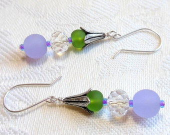 Sea glass earrings, beach earrings, lavender and green beach glass, argentium sterling silver wires, made to match necklace
