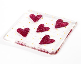 Love hearts coaster fused glass art teacher teachers gift gifts present presents anniversary engagement new home house wedding bridesmaid