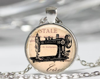 Vintage Sewing Machine Necklace Sewing Necklace Wearabel Art Jewelry