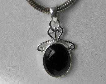 "Black Onyx Pendant Handmade Stunning Black 1 1/2"" Gemstone Pendant Solid Sterling Silver Pendant Onyx Jewelry Take 20% Off Fine Onyx Jewelry"