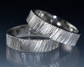 Saw Cut Wedding Bands in Sterling Silver, Set of 2 rings