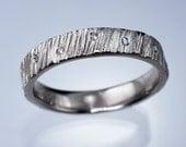 Scattered Diamond Saw Cut Textured Modern Wedding Ring in Sterling, Palladium, Platinum, White, Rose or Yellow Gold