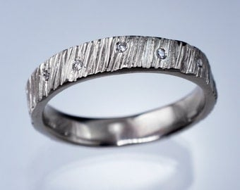 Scattered Diamond Saw Cut Textured Modern Wedding Ring in Sterling, Palladium, Platinum, White, Rose or Yellow Gold