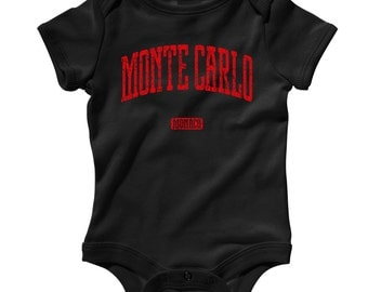 Baby Monte Carlo Monaco Romper - Infant One Piece - NB 6M 12M 18M 24M - Monte Carlo Baby - 4 Colors