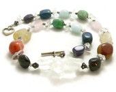 Chakra Rainbow Gemstone Nuggets Chunky Statement Necklace - Sterling Silver - Balance and Healing - Artisan Jewelry