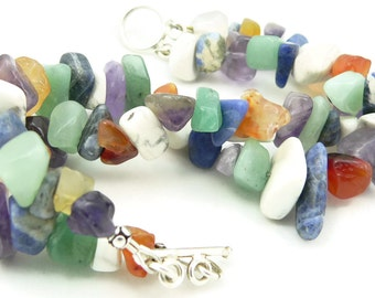 Mixed Gemstone Double Strand Chunky Bracelet - Artisan Jewelry