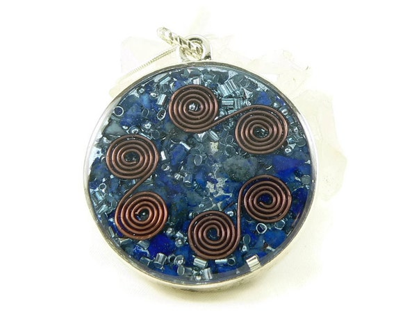 Orgone Energy Pendant - Double Sided Open Pendant in Silver with Lapis Lazuli - Quartz Crystal - Energy Jewelry - Artisan Jewelry