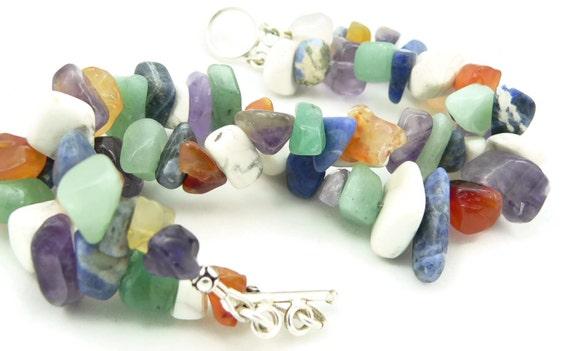 Mixed Gemstone Double Strand Chunky Bracelet - Artisan Jewelry