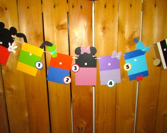 Mickey Mouse Photo Banner 1st Birthday banner  First Year Photo display Mickey Mouse Clubhouse