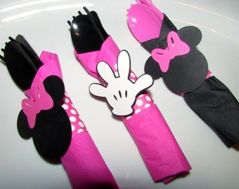 Minnie Mouse Pink Napkin rings only - minnie mouse birthday decor