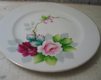 Vintage Handpainted Rose plate Sanko Japan