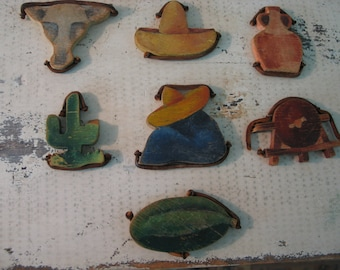 Vintage Wooden Toy Old Mexico figurines