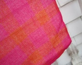 Hot Pink Tablecloth Square Table cover in Hot Pink and Orange 34 by 32 Fuchsia and Orange Plaid