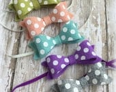 Polka Dot Bow Headband- Wool Felt Baby Headband- Infant Headband- Pink, Green, Grey, Purple, Blue- You Pick- Toddler Felt Polka Dot Bow