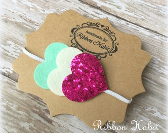 Baby Hearts Headband- Mint, White, Berry Pink Glitter Wool Felt Infant Headband- Heart Elastic Headband, Newborn Headband, Mint & Pink