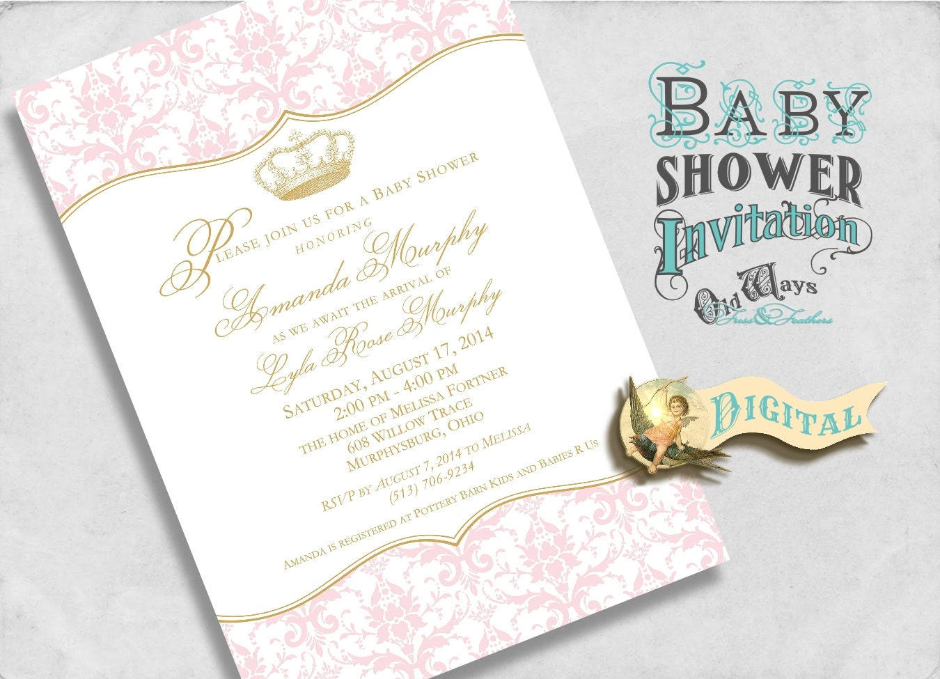 pink and gold royal princess baby shower by oldwaysfussnfeathers