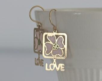 Gold Vermeil LOVE Flower Dangle Pierced Earrings // Vintage Jewelry