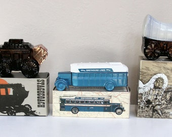 Vintage Aftershave AVON Vintage Transportation Mens Collectibles Graphic boxes Stagecoach 1931 Greyhound Bus Covered Wagon 1970s Glass