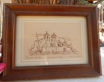 Ranchos de Taos by Larry Hilburn 1982  ~  Signed Larry Hilburn  ~  Larry Hilburn Print Signed, Dated, Numbered