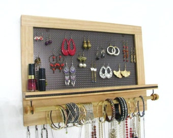 Jewelry Organizer, Earring Holder, Wooden Jewelry Display