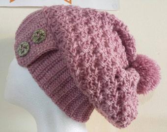 crochet ham crochet slouch crochet tam rose pink tam made in wales