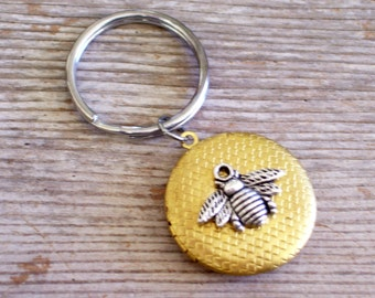 Bee Locket Key Chain, Silver Bee Locket Key Ring , Gold Brass Honeycomb Locket, Split Ring Key Holder