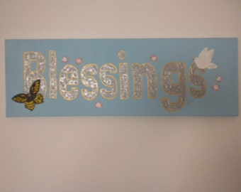 ON SALE Blessings Dove Butterfly Folk Art Painting -   24 x 8