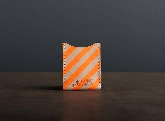Leather Card Case / Wallet - Neon Orange