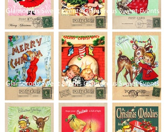 INSTANT DOWNLOAD, Christmas Tags, Christmas Labels, Christmas Postcard Collage Sheet, Printable, Glamorous Sweet Events