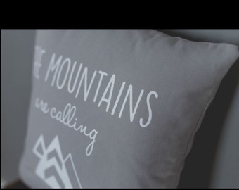 Handmade Canvas Pillow-The Mountains are Calling-screenprinted pillow