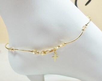 Gold Cross Anklet Gold Topaz Gold Anklet Gold AB Crystal Ankle Bracelet Delicate Anklet 14k Gold Filled Anklet Ankle Jewelry BuyAny3+1 Free