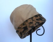 Camel and Leopard Hat, Roll Brim Hat, Soft and Warm Hat, Tan Hat, Leopard Print Fleece Hat