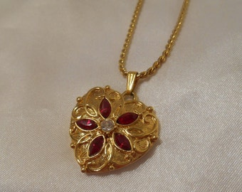 Avon Gold Tone Heart Pendant with Red and Clear Rhinestones