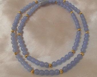 Avon Porcelain Pastel Dusty Blue Bead Necklace