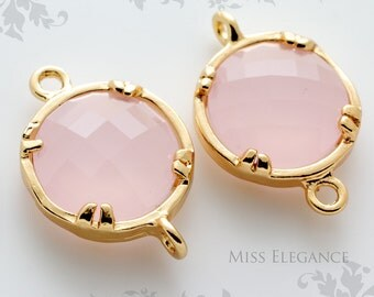 2pcs Pink Jade Round Framed Faceted Glass Disc Stone Connector Gold Plated Brass Unique Jewelry Findings //12mm x 12mm// GSRC-0000-BG