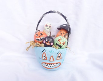 Handmade Paper Clay Jackolantern Basket Vintage Inspired Kitschy Skeleton Toadstool Pumpkins Halloween Decor