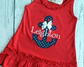 Nautical Anchor Dress with Name. Monogrammed patriotic dress with anchor and bow. Summer dress. Baby Girl, Toddler Red Dress.