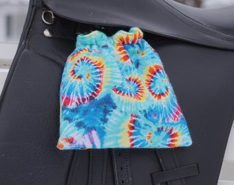 Ready to Ship - Rainbow Tie Dye Reversible Stirrup Covers