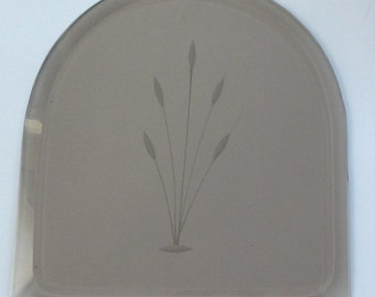 Etched cattails or wheat - arched bevel - Glass bevels - Stained glass supplies