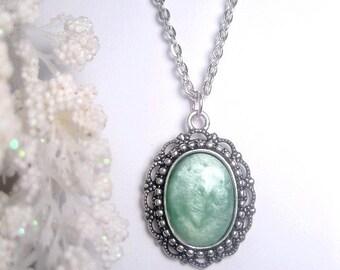 Mint Necklace - Mint Pendant Necklace -  Silver Mint Necklace - Opaque Pastel Green