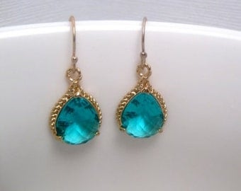 Aqua Earrings - Crystal - Turquoise - Rope Earrings - Gold And Turquoise -  With 14k Gold